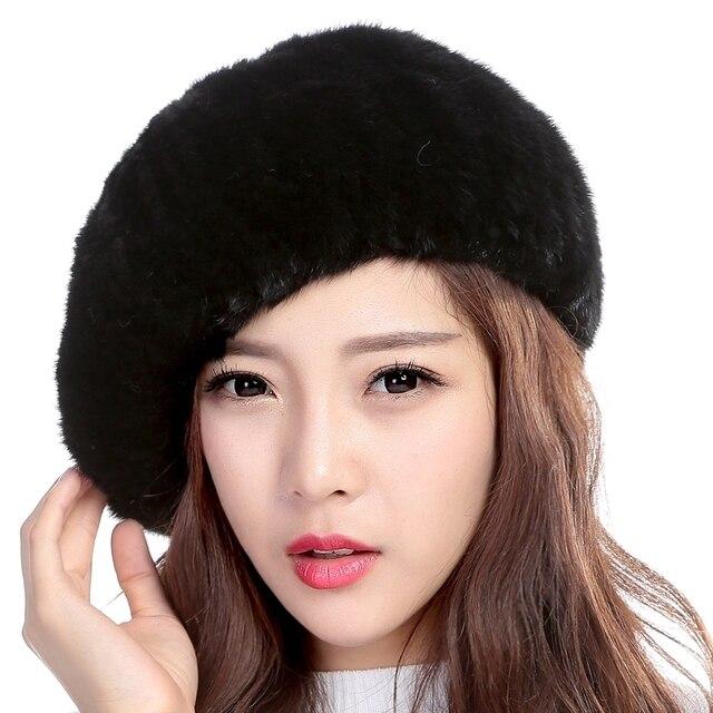 Оптовая продажа Французский Берет Hat женский реального норки Мех шляпа с сильным упругой Мода Hat Brand Осенне-зимняя Дамская обувь теплая шапка