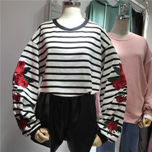 Elegant Embroidery Loose Striped Sweatshirt