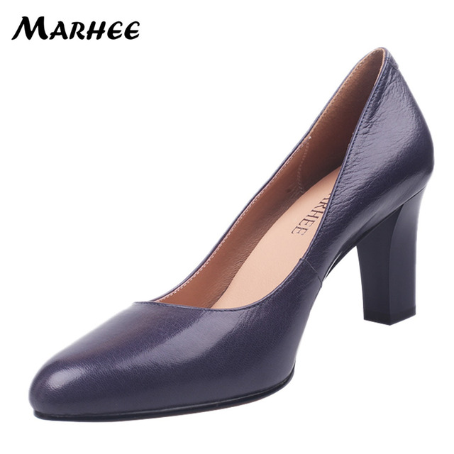 MARHEE Party Pumps Branded Women's Genuine Leather Shoes Ladies 8.5cm Chunky Heel Shoes Woman High Heels Pumps /54/55