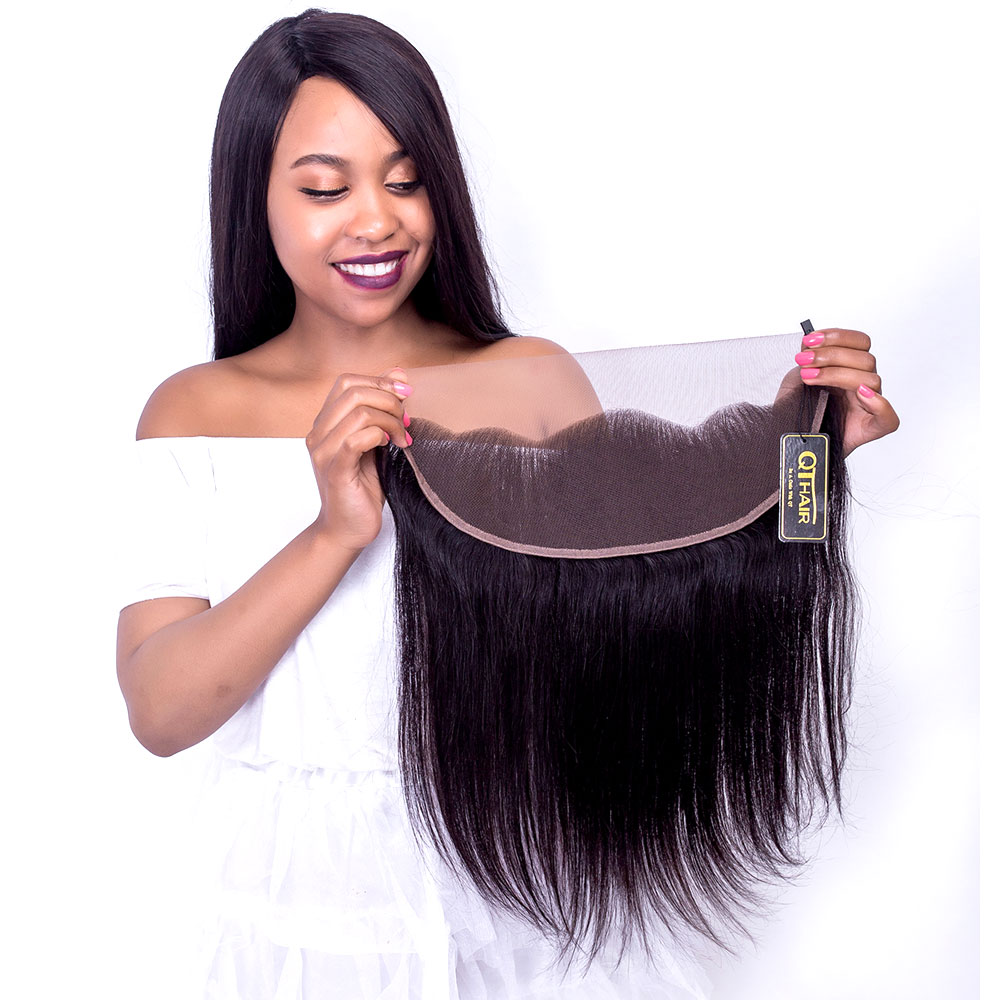 QThair Brazilian Straight Hair Lace Frontal Closure 13×4 Swiss Lace Ear To Ear Remy Human Hair Closure Free Shipping