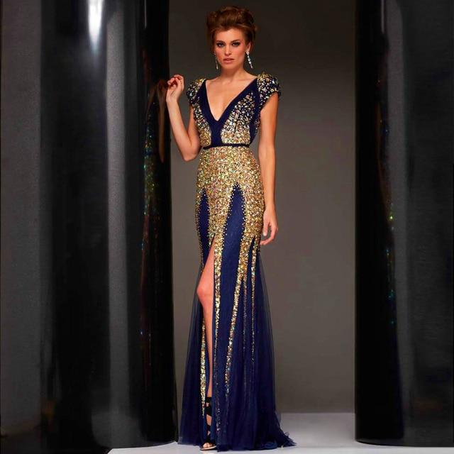 New Vestido de novia Luxury Mermaid Evening Dresses 2016 Custom made Sexy  Backless Front High Slit Navy Blue Sparkly Prom Dress e7870180ebe6