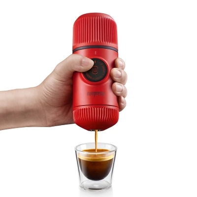 Capsule and ground coffee maker Portable Hand pressure Mini household Two - in - one version For travel Coffee maker two in one coffee clip measuring spoon