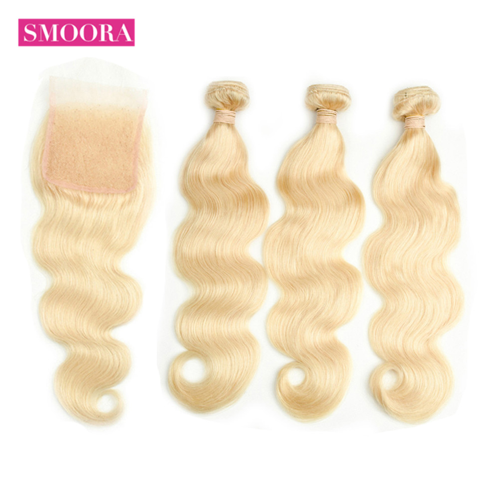 Smoora Blonde Hair 3 Bundle Body Wave Hair with Lace Closure 4 4 Brazilian Remy Human