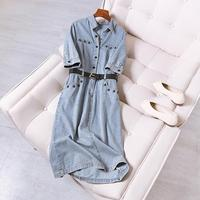 2019 summer large size women's dress fat mm fashion in the long lapel cowgirl dress