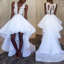 White High Low White Black Girl Prom Dresses Sexy V Neck Beaded Lace  Appliques Short Front 6ead19a7a46e