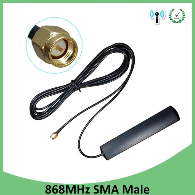 GSM Antenna 868 mhz 915 mhz dải dán 868 m vá ăng ten SMA-Nam nối Trên Không 3 mét Cáp 868 mhz 915 mhz antena antenne