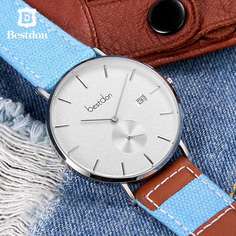 Bestdon Horloge Mannen Canvas Denim Ultra Dunne Geïmporteerde Quartz Klokken Retro Sport Horloges Top Brand Fashion Waterdichte Man Hot