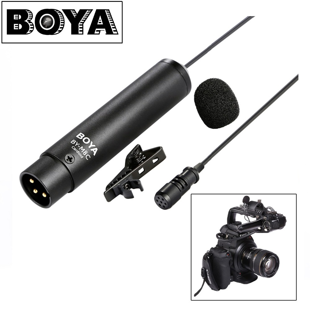 NEW BOYA Professional Omnidirectional Clip-on Lavalier BY-M8C output connector Cardioid Microphone for Camcorder Audio recorders boya by wm5 lavalier clip on mic audio studio recorder wireless microphone microfone for canon sony gopro dslr camera camcorder