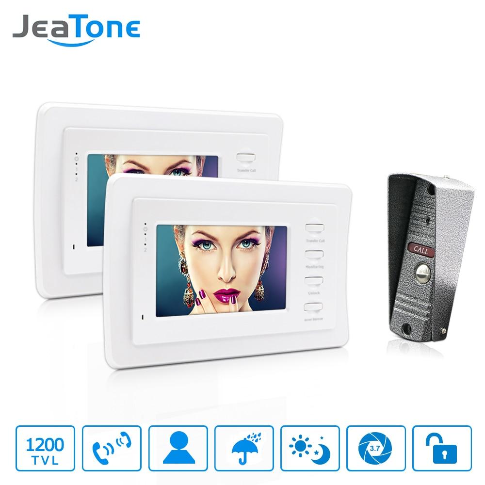 JeaTone 4'' HD Wired Video Door Phone Video Door Bell Intercom kit IR Night Vision Camera Doorbell For Waterproof