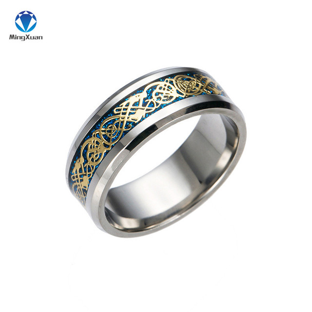 Vintage Gold Free Shipping Dragon 316L stainless steel Ring Mens Jewelry for Men lord Wedding Band 4
