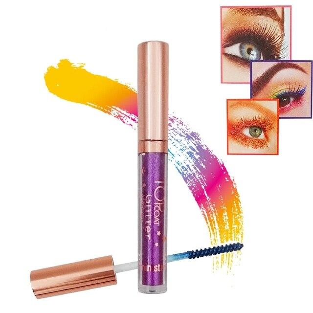 Rímel de colores 8 colores diamante dorado azul tinte para el cabello maquillaje de ojos resistente al agua brillo de larga duración Fibra de seda pestañas máscara