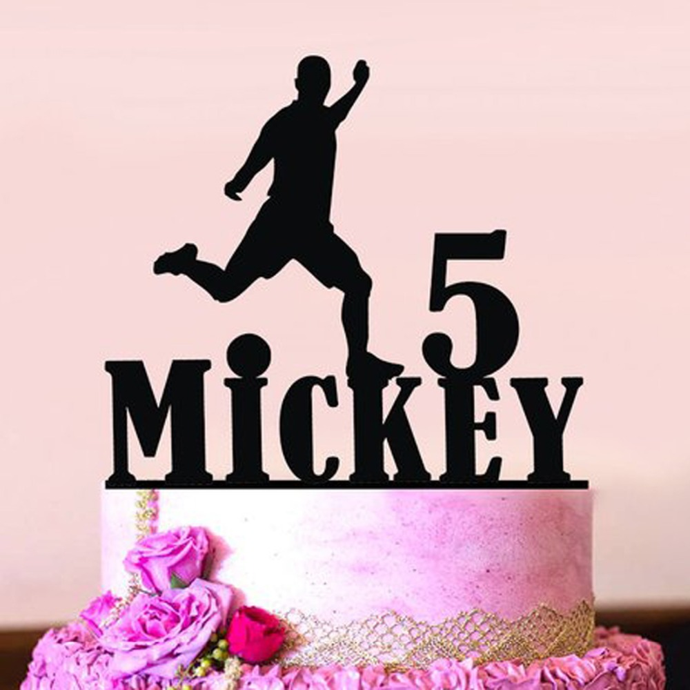 Custom Football Cake Toppers Happy Birthday Wedding Soccer Topper Baby Shower Decor Baking DIY Party Supplies