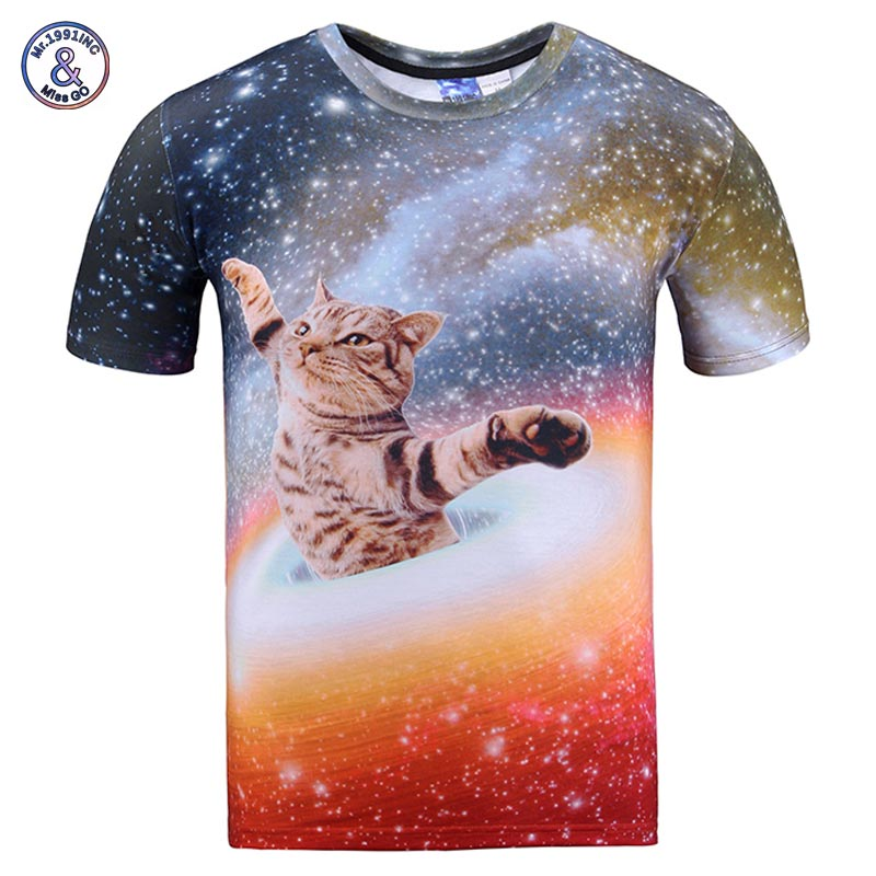2017 Mr.1991INC New Arrivals Men/women 3d t-shirt print bright stars Space swirl cat cool summer galaxy t shirt tops tees