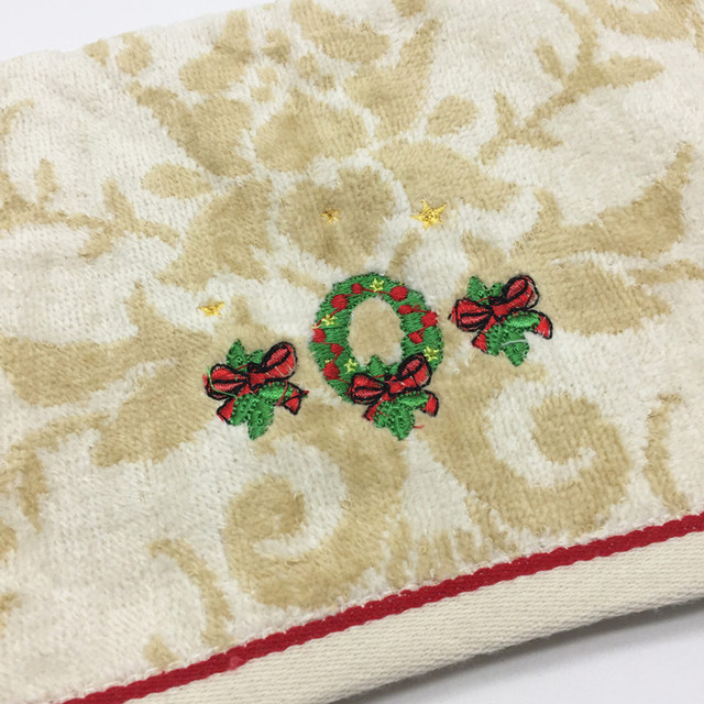 Christmas Quick Dry Soft Cotton Embroidery Towel