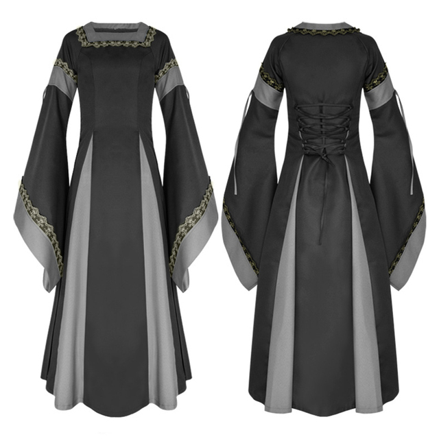 9c44e772d7f plus size Womens Vintage Victorian Renaissance Gothic Dress 50s long flare  sleeve Costume Medieval Retro maxi long Dress vestido