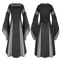 plus size Womens Vintage Victorian Renaissance Gothic Dress 50s long flare sleeve Costume Medieval Retro maxi long Dress vestido