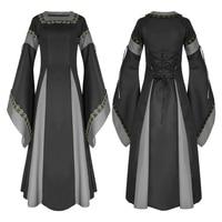 plus size Womens Vintage Victorian Renaissance Gothic Dress 50s long flare sleeve Costume Medieval Retro maxi long Dress vestido