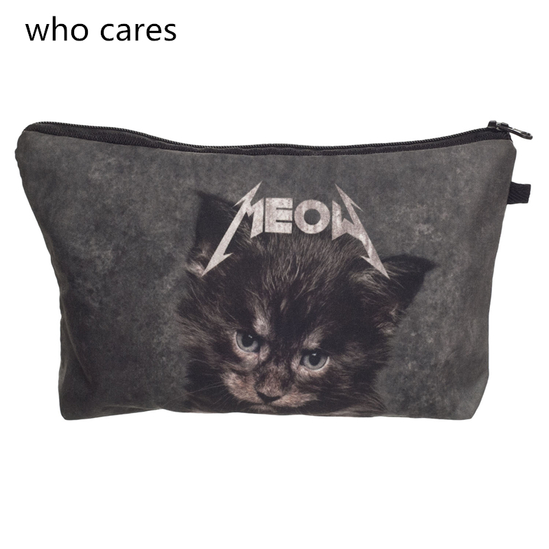 Who Cares Women Cosmetic Bag New Neceser Portable Make Up Bag 3D Printing Meow Cat Organizer