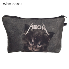 Who Cares Women Cosmetic Bag New Neceser Portable Make Up Bag 3D Printing Meow Cat Organizer Bolsa feminina Travel Toiletry Bag