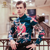 FanZhuan Free Shipping New Men S Man Fashion 2017 Casual Male Long Sleeved Personality Crane Printing