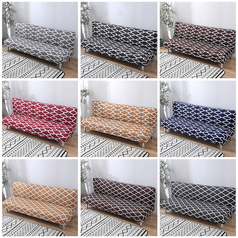Printed Sofa Bed Covers Without Armrest Tight Wrap Couch Cover Stretch Flexible Slipcovers Sofa Towel For Home Living Room