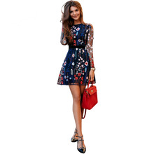 Sexy Women Floral Embroidery Dress Sheer