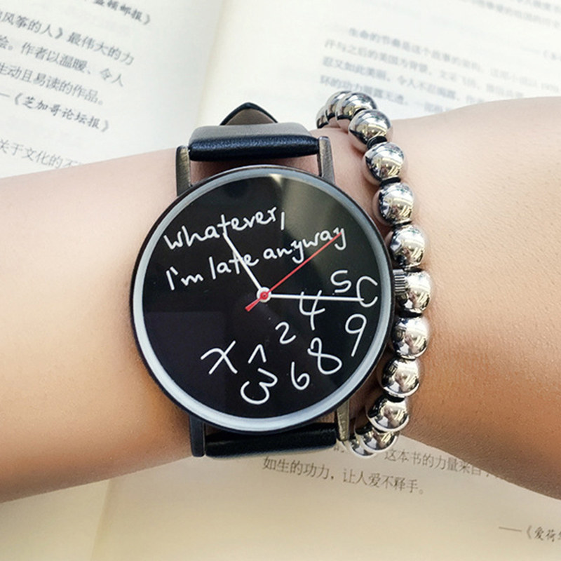 Whatever I am late anyway Creative Watches Simple Street Leisure Women Quartz Leather Watch Characteristic Ladies Fashion Hours lovesky 2016 new arrival women pu leather watch who cares i am late anyway letter watches wrist watch free shipping