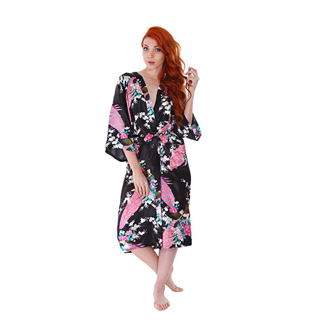cb9c5ff504 Women s Classic Satin Peacock Floral Print Kimono Style Robe Gown With  Pockets Middle Length Wedding Bride Robe Nightgown S-XXXL