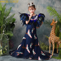 Children'S Kids Girls Dress Catwalk Show Model T Stage Costume 2018 New Host Embroidery Tailing Feather Mermaid Evening Dresses