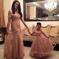 Modest Sereia Vestidos de Baile 2017 Fora Do Ombro Mangas Curtas Apliques Mãe e Filha Vestidos Elegantes Vestido de Festa Longo