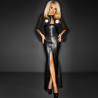 2016 Sexy Newly Long Maxi Mesh Club Dress With Cape Wetlook Vinyl Leather Clubwear Gothic Black