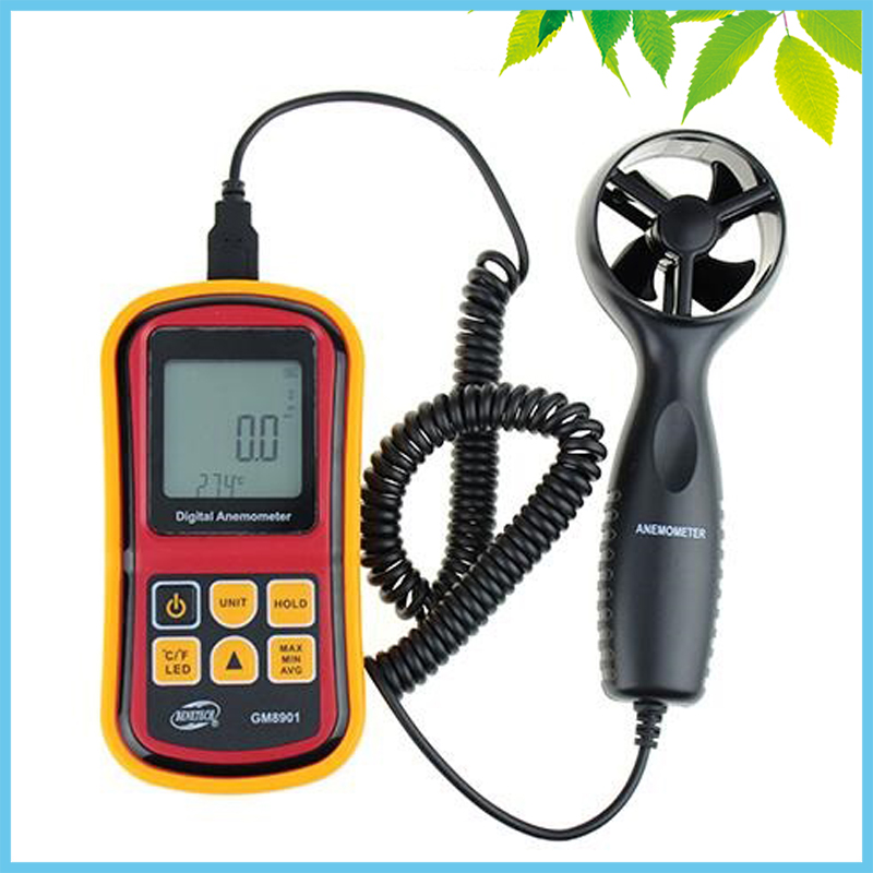 Beaufort CE FCC RoHS Digital LCD Anemometer Wind Speed Air Flow Temperature Tester Measuring Meter High Precision m/s Ft/min free shipping gm8901 45m s 88mph lcd digital hand held wind speed gauge meter measure anemometer thermometer