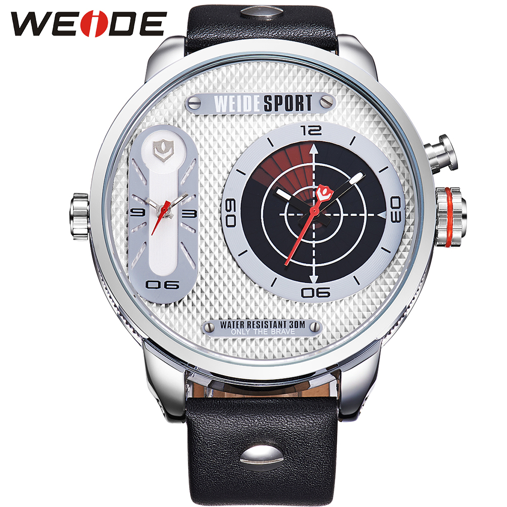 ФОТО WEIDE New Fashion Genuine Leather Watch Men Japan Quartz Movement Two Time Zones Display 3ATM Waterproof Luxury Brand relojes