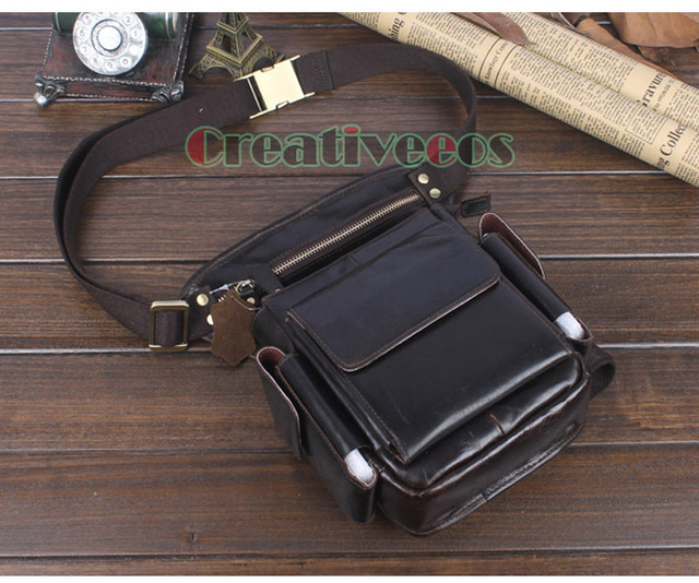 2017 New Men Oil Wax Genuine Leather Travel Motorcycle Riding Messenger Shoulder Hip Bum Fanny Pack Waist Thigh Drop Leg Bag
