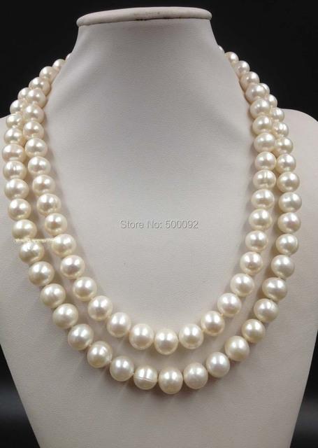 """AA 20-22 """"2 filas de 11mm blanco de agua dulce collar de perlas envío gratis"""