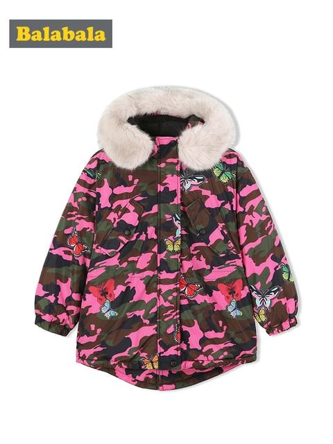 Balabala Girls down jacket winter big children short childrens jacket camouflage Korean version thick warm girls clothing