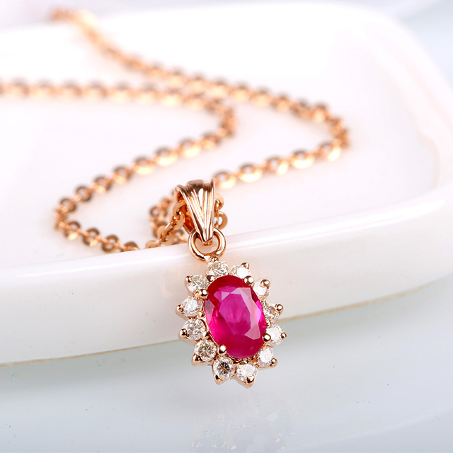 Classic Ruby Pendants for Women 18K Gold Luxurious Red Ruby Pendant Necklace Gem Precious Stone Jewelry Pendant