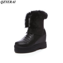 QZYERAI  Winter warm super thick female boots snow boots women shoes real rabbit hair