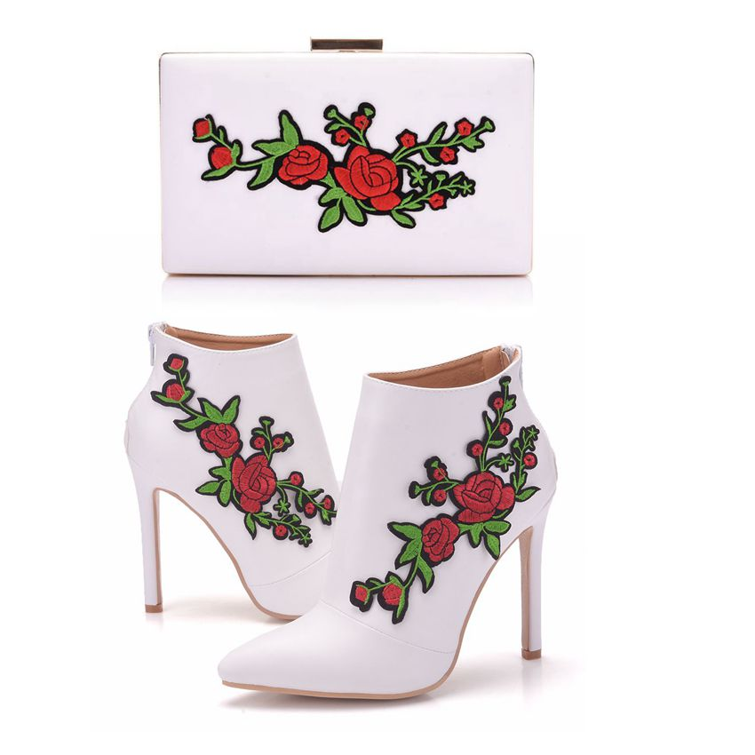 La Assortis Bottes Les Bourse Womenhigh forme Dentelle Cristal Chaussures Sacs Cheville Reine Robe White Talon Avec Fleur Plate dCtshQr
