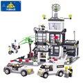Estación de policía kazi 6725 3d bloques de construcción de edificios lepin compatible bloques de policía coche modelo de camión de juguete ladrillos diy brinquedos