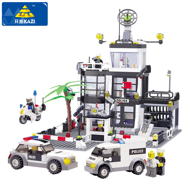 KAZI Police Station Building Blocks Compatible Legoe City Building Blocks 3D Model Bricks Brinquedos Toys For Children Gifts kazi building blocks police station model building blocks compatible legoe city blocks diy bricks educational toys for children