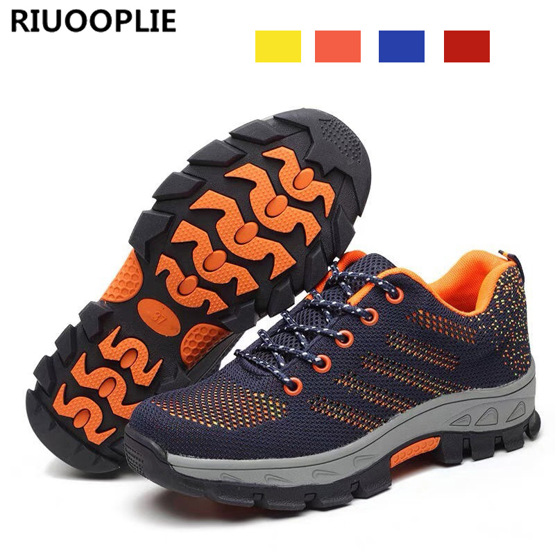 RIUOOPLIE для мужчин дышащие сталь носком кепки рабочая обувь Мужская Уличная Нескользящая проколов Строительная защитная обувь