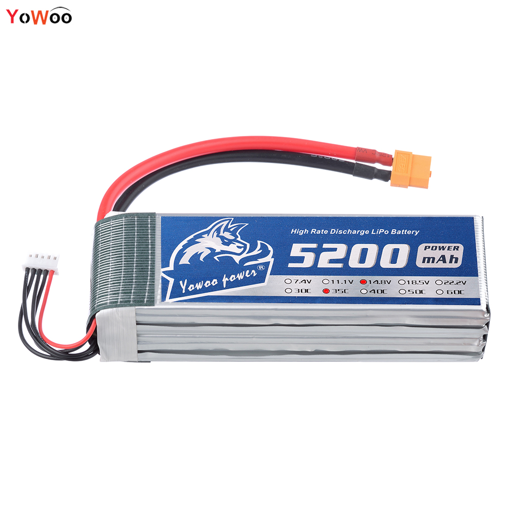 YOWOO Lipo 4s Rc Battery 5200mah 14.8v 35C Max 70c Drone AKKU For Airplane Car Model Helicoptes Quadcopter UAV mos 2s rc lipo battery 7 4v 2600mah 40c max 80c for rc airplane drone car batteria lithium akku free shipping