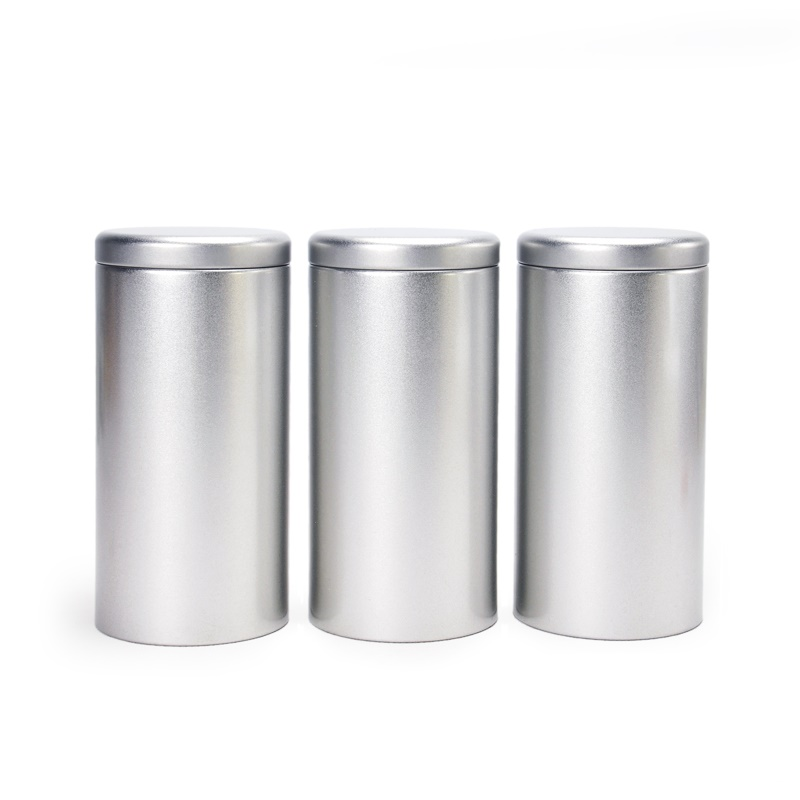 Dia.85*170mm Silver Tea Tin Box Candy Metal Storage Container Food Storage  Box