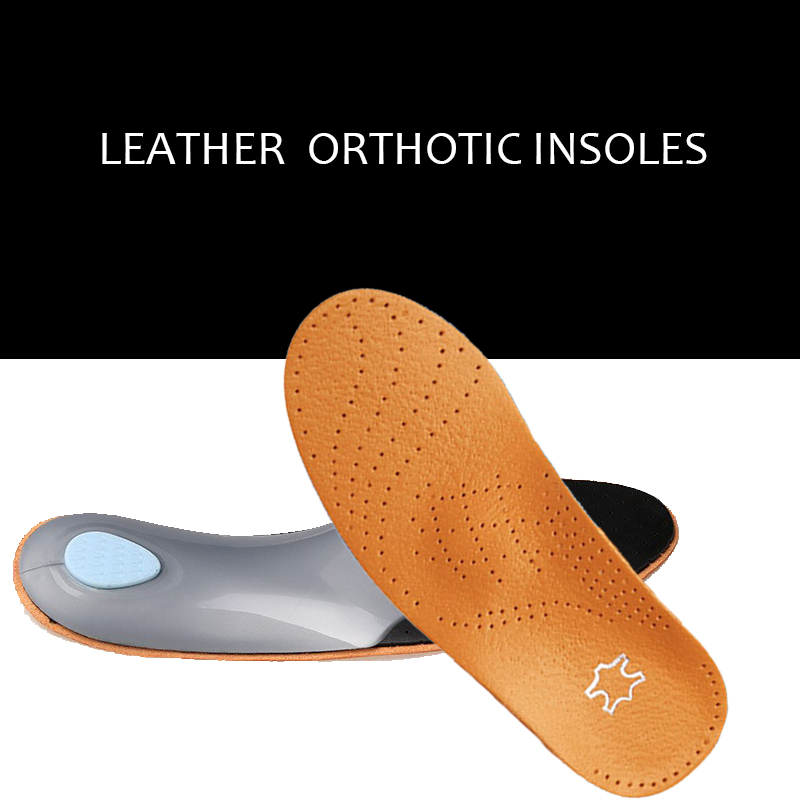 Brand 3D Premium Leather orthotics Flat Foot Insole Arch Support Orthotic Silicone Insole antibacterial active