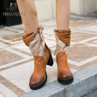 Prova Perfetto Brown Leather Lady Vintage Style Boots Rivets Zipper Decor Block Heel Bootie High Quality Chelsea Boots Female