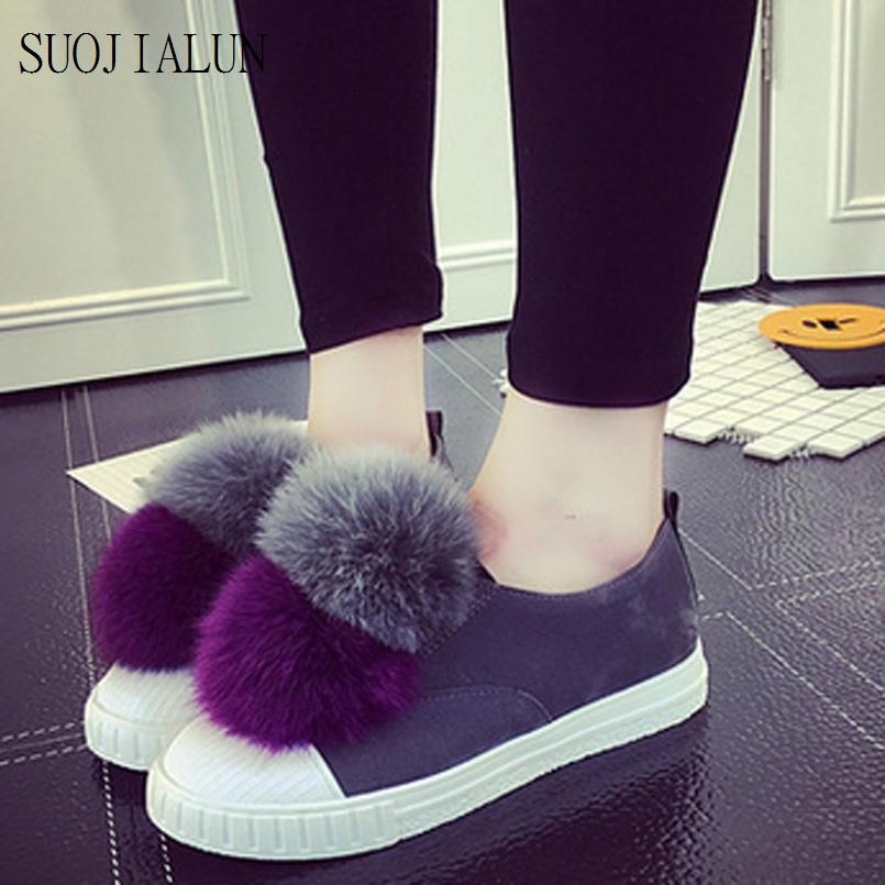Women Casuals Shoes Slip Ons Fur Loafers Shoes 2017 New Design Fashion Flat Shoes Women Lady Round Toe Fur Flats latest style women s loafers girl white shoes fashion women s shoes 2017 ox fur embroider deodorization massage