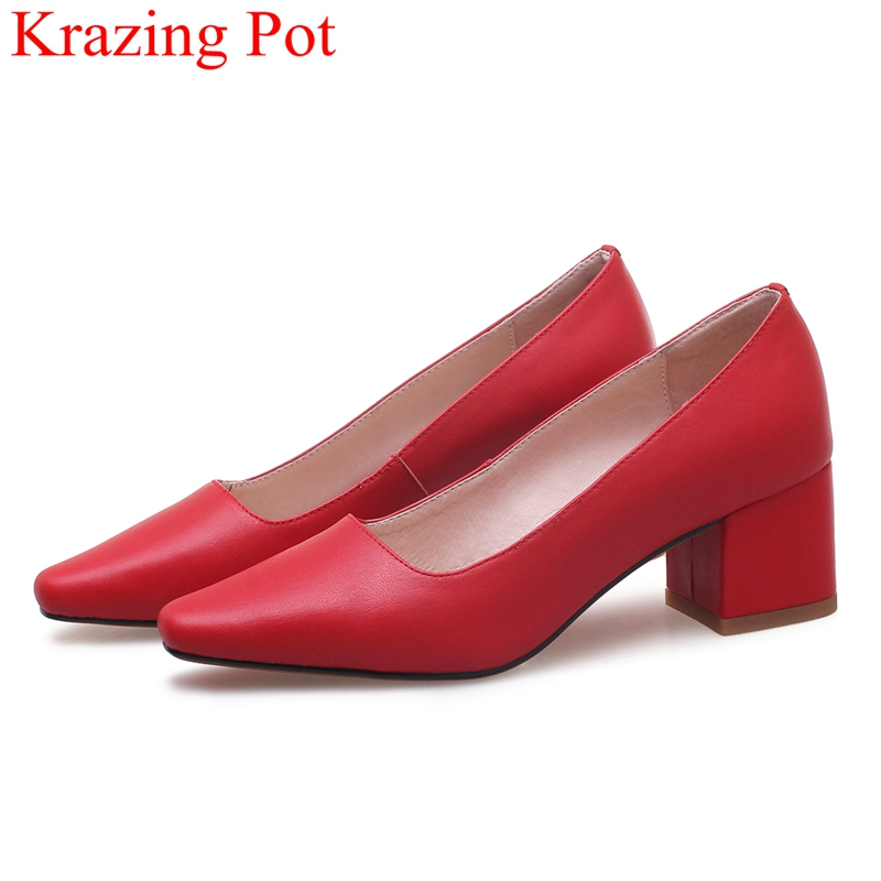 2018 New Arrival Slip On Big Size Square Heel Cow Leather Women Pumps Elegant Shallow Office Lady Red Runway Work Shoes L95