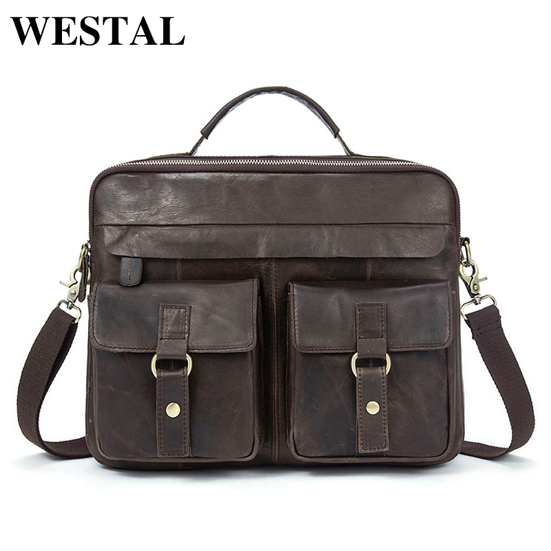 WESTAL Men Bag Briefcases Genuine Leather Crossbody Bags Messenger Totes Leather Handbags Laptop Bag Shoulder Bags