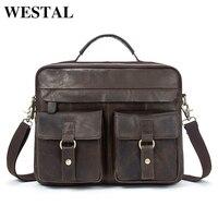 WESTAL Men Bag Briefcases Genuine Leather Crossbody Bags Messenger Totes Leather Handbags Laptop Bag Shoulder Bags Men 7120